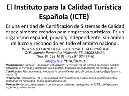 El Instituto para la Calidad Turística Española (ICTE)