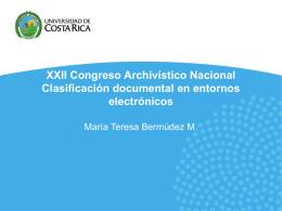 XXII Congreso Archivístico Nacional Clasificación documental en