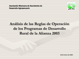 Análisis de las Reglas de Operación de los Programas de