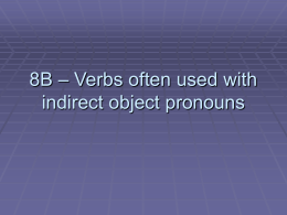 8B – Verbs with special usage