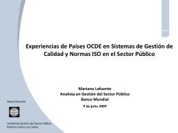 Experiencias de Países OCDE en Sistemas de Gestión de Calidad y