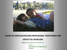 curso de especialización profesional trastorno por déficit de atención