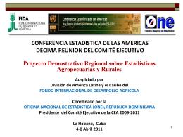 Proyecto Demostrativo Regional sobre Estadísticas Agropecuarias y