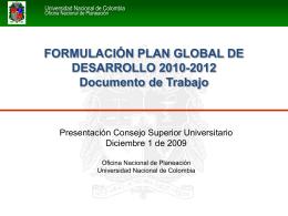 Evaluación Plan Global de Desarrollo 2007-2009