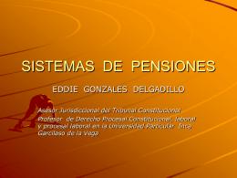 SISTEMAS DE PENSIONES Y JUBILACIÓN