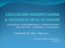 educación agropecuaria a distancia en el ecuador