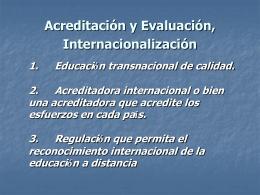 acreditación y evaluación, internacionalización