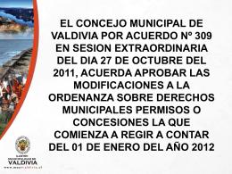 Ordenanza sobre derechos municipales permisos o concesiones