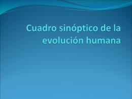Cuadro sinóptico de la evolución humana