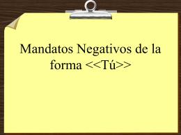 Negative Tú Commands - DPS World Languages