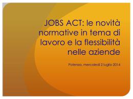 JOBS ACT: le novità normative in tema di lavoro e la