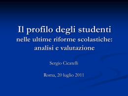 Il profilo degli studenti - Chiesa Cattolica Italiana