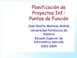 Planificación de Proyectos Inf.: Puntos de Función