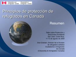Principios de protección de refugiados en Canadá, Un resumen
