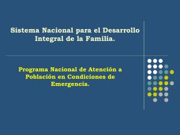 Presentación Del Programa Nacional De Atención A Población En