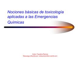 Nociones básicas de toxicologia aplicadas a las emergencias