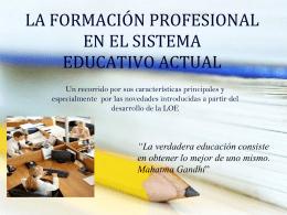 la formación profesional en el sistema educativo actual