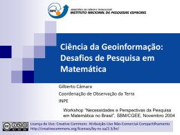 Ciência da Geoinformação: Desafios de Modelagem - DPI
