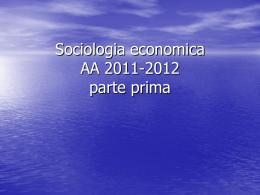 Sociologia economica a.a. 2011-12