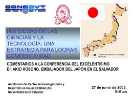 Dr. Akio Hosono, Embajador del Japón en El Salvador
