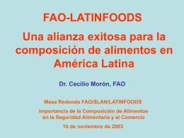 LA FAO Y LA COMPOSICIÓN DE ALIMENTOS