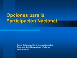 Opciones para la Participación Nacional Centro de