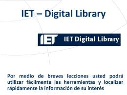 Bienvenidos al Tutorial IET – Digital Library