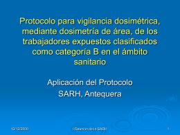 Protocolo para vigilancia dosimétrica, mediante dosimetría de área