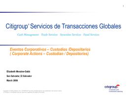 Eventos Corporativos – Custodios /Depositarios