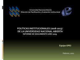 Seguimiento de las Políticas Institucionales - OPEI
