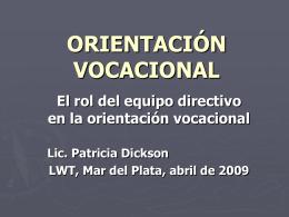 orientación vocacional - AGDS :: Comunidad de Escuelas Argentino
