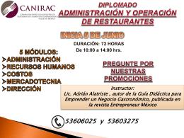 diplomado administración y operación de restaurantes