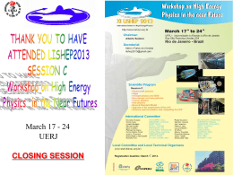 International School on High Energy Physics UERJ - Indico