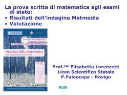 valutazione e risultati dell`indagine Matmedia