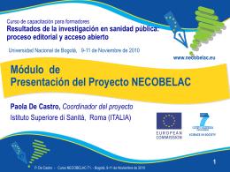 1. Módulo de Presentación del Proyecto NECOBELAC