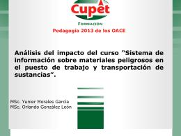 """Análisis del impacto del curso """"Sistema de información sobre"""