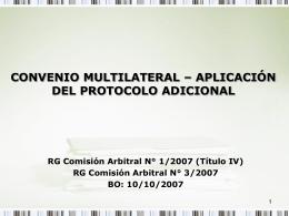 Convenio Multilateral – Protocolo Adicional