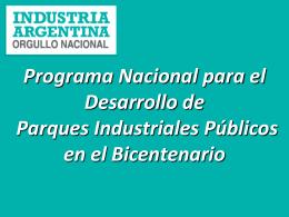 Proyecto de Ley Nacional de Parques Industriales