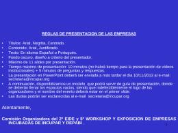 Modelo de Presentación Empresas 2º EIDE y 5º Workshop