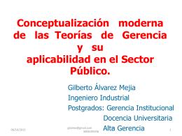 Conceptualización moderna de las Teorías de Gerencia y su