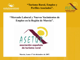 """""""Turismo Rural, Empleo y Perfiles Asociados""""."""