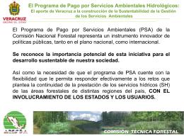 El Programa de Pago por Servicios Ambientales Hidrológicos