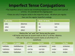 Imperfect Tense Conjugations