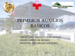 taller de primeros auxilios. - Liceo Bicentenario Minero SS Juan