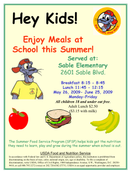Breakfast 8:15 - Sable Elementary