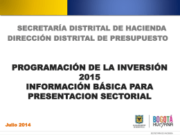 Programación de la inversión 2015 Información Básica para