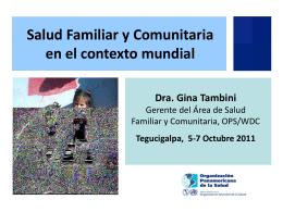 1A. Salud Familiar y Comunitaria en el contexto mundial Dra