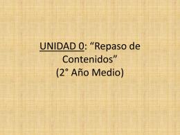 Unidad 0 (Repaso 2°Medio)