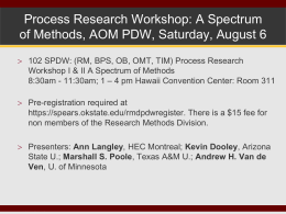 AOM Process Workshop - Process Research Methods