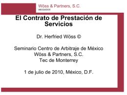 Herfried Wöss: El Contrato de Prestación de Servicios